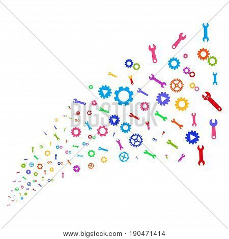 Source stream of setup tools icons. Vector illustration style is flat bright multicolored iconic setup tools symbols on a white background. Object fountain constructed from design elements.