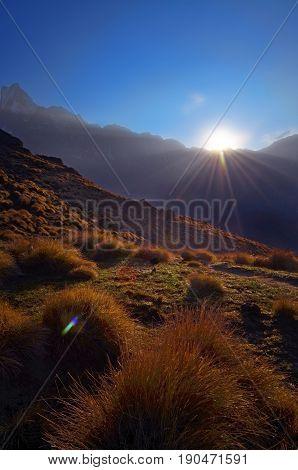Sunrise in the Himalaya mountains. Machapuchare peak. Nepal, Annapurna region, Mardi Himal track.