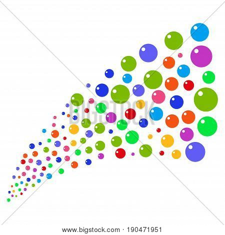 Source of sphere icons. Vector illustration style is flat bright multicolored iconic sphere symbols on a white background. Object fountain created from icons.
