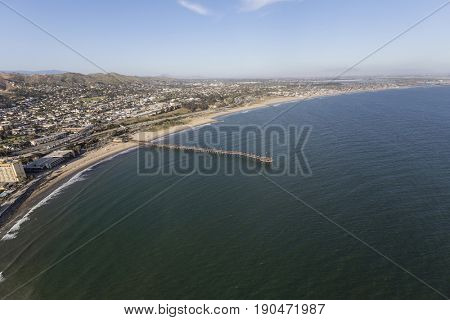 Aerial view of the Ventura shoreline and the Pacific Ocean in Southern California.