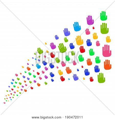 Fountain of stop hand icons. Vector illustration style is flat bright multicolored iconic stop hand symbols on a white background. Object fountain organized from symbols.