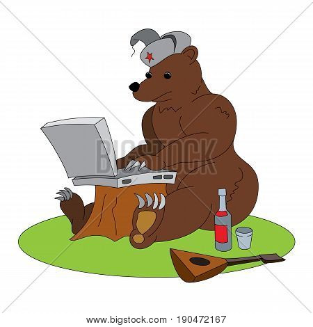 Russian hacker humorous illustration - brown bear sitting with laptop. Animal working with notebook, with traditional elements - red star, vodka and balalaika. Funny vector clip art.