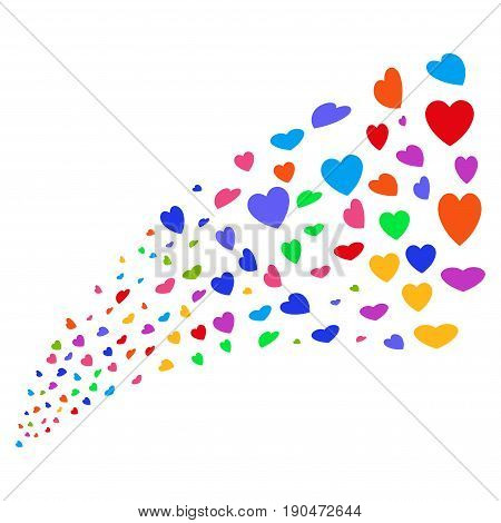 Source of valentine petals icons. Vector illustration style is flat bright multicolored iconic valentine petals symbols on a white background. Object fountain done from icons.