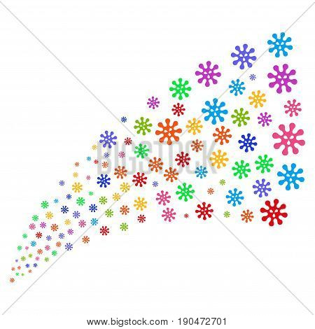 Stream of virus symbols. Vector illustration style is flat bright multicolored iconic virus symbols on a white background. Object fountain created from icons.