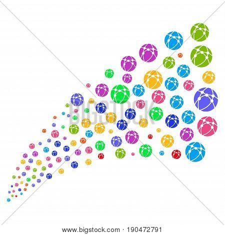 Source of web browser symbols. Vector illustration style is flat bright multicolored iconic web browser symbols on a white background. Object fountain created from design elements.