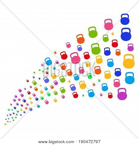 Fountain of weight icons. Vector illustration style is flat bright multicolored iconic weight symbols on a white background. Object fountain organized from pictographs.