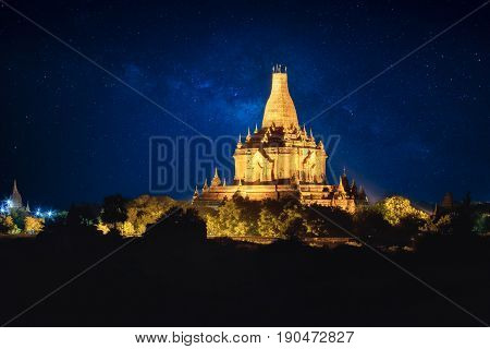 The old pagoda in bagan on the background of milky way at night scene Bagan Myanmar