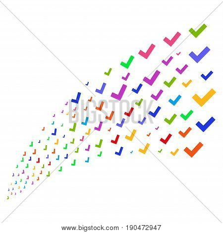 Stream of yes icons. Vector illustration style is flat bright multicolored iconic yes symbols on a white background. Object fountain combined from symbols.