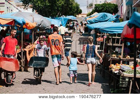 Picui, Paraiba, Brazil - June 3, 2017 - A Typical Farmers Market In The Northeastern Region Of Brazi