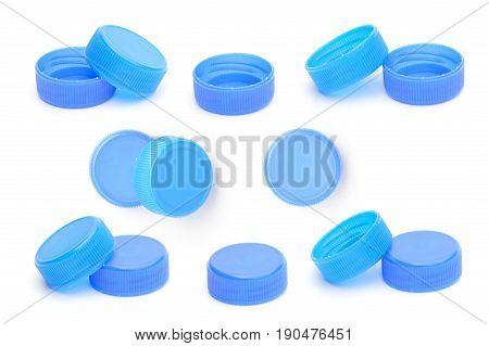 set of blue plastic bottle cap isolated on white background