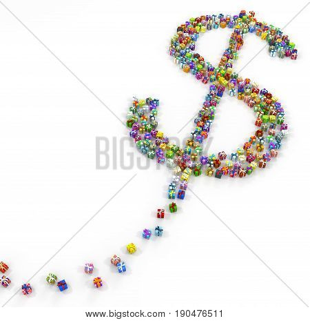 Gift large group 3d illustration dollar sign shape horizontal over white