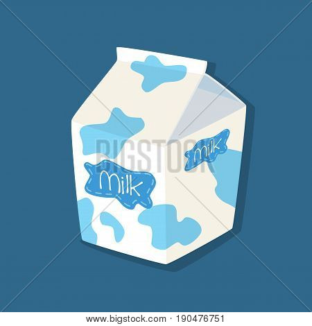 Milk Packaging Carton Spotted Plain Vanilla Flavored on Blue Background