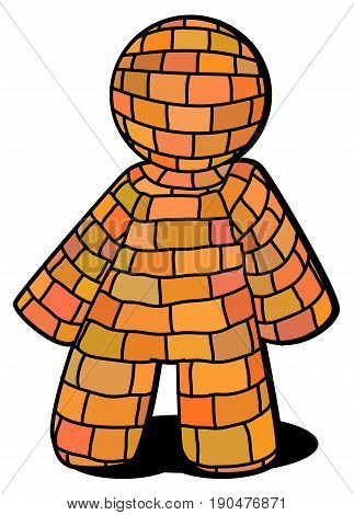 Cartoon brick figure drawing vector illustration vertical isolated