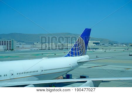 SAN FRANCISCO, CALIFORNIA - MAY 11, 2017: United Airlines planes at the Terminal in San Francisco International Airport.