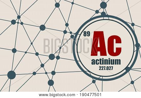 Actinium chemical element. Sign with atomic number and atomic weight. Chemical element of periodic table. Molecule And Communication Background. Connected lines with dots.