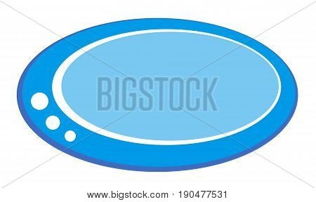 Blue oval button illustration with white decorations for websites programs projects