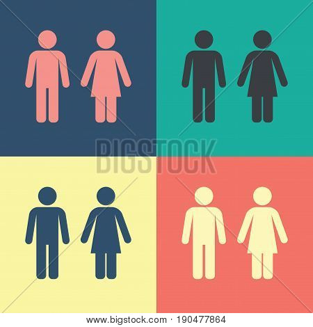Male Female WC Icon set with male and female silhouetted figures vector illustration