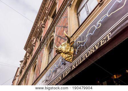 Copenhagen Denmark - June 1, 2017, Bull´s head as a sign for an old butcher´s shop at Kultorvet.