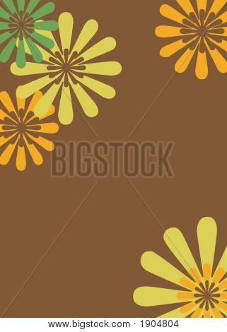Brown, Yellow & Orange Retro Floral Background