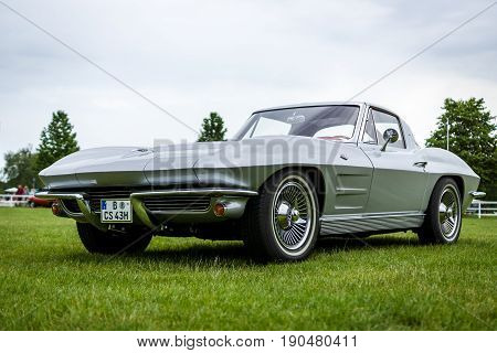 PAAREN IM GLIEN GERMANY - JUNE 03 2017: Sports car Chevrolet Corvette Sting Ray Coupe. Exhibition
