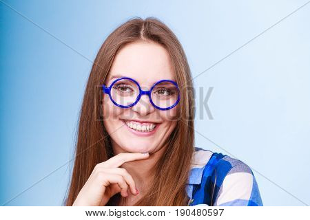 Happy Smiling Nerdy Woman In Weird Glasses