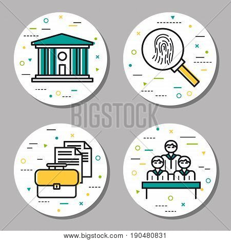 Vector four round judiciary linear icons with additional elements. Courthouse, fingerprint study, jury and documentation