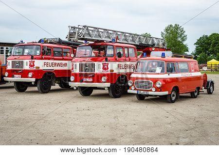 PAAREN IM GLIEN GERMANY - JUNE 03 2017: Fire trucks IFA W 50L and Barkas B 1000. Exhibition