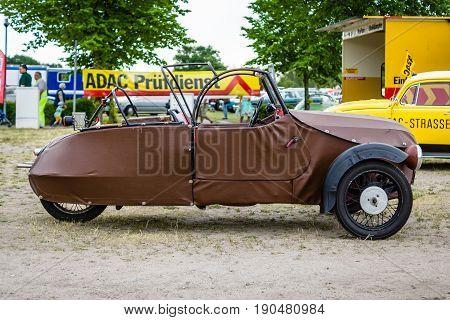 PAAREN IM GLIEN GERMANY - JUNE 03 2017: Small three-wheeled car Velorex 16/250 1960. Exhibition
