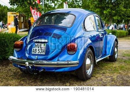 PAAREN IM GLIEN GERMANY - JUNE 03 2017: Economy car Volkswagen Beetle 1973. Rear view. Exhibition
