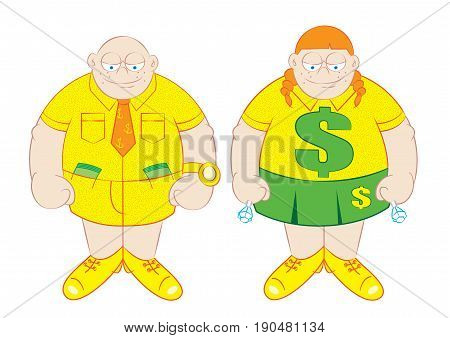 rich young boy and girl vector illustration