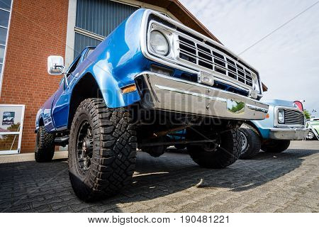PAAREN IM GLIEN GERMANY - JUNE 03 2017: Full-size pickup truck Dodge Power Wagon W100 1976. Exhibition