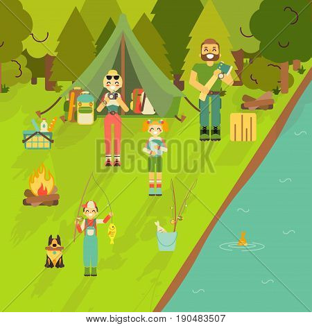 Happy family go camping and fishing. Vector illustration in flat style design. Cartoon people characters and tourist objects. Tent, fire, fishing rod, food, axe. Parents and kids on holiday.