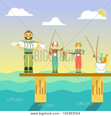 Happy family go fishing. Vector illustration in flat style design. Cartoon people characters fishing in sea. Parents and kids on a pier with fishing rods on holiday.