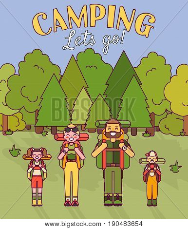 Happy family go camping. Vector illustration in flat style design. Cartoon people characters in forest. Parents and kids with backpacks on holiday.