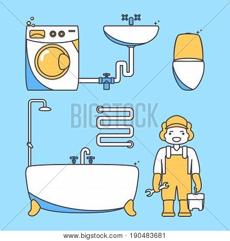 Plumber worker cartoon character. Male character standing in bathroom holding tool box and plumber wrench. Vector illustration in flat style design