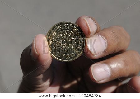 Copenhagen /Denmark - 09 June 2017. Danish 20 kroner coin. (Photo.Francis Joseph Dean/Deanpictures)