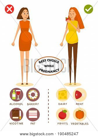 Healthy diet for pregnant woman concept vector poster. Choice of food for girls. Healthy pregnancy, good and bad food. Cartoon people characters in flat style design