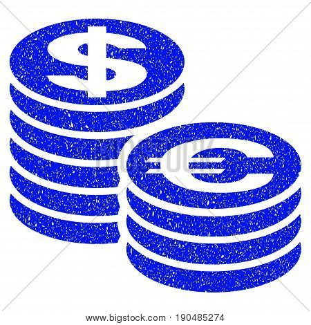 Grunge Euro And Dollar Coin Columns icon with grunge design and unclean texture. Unclean vector blue pictogram for rubber seal stamp imitations and watermarks. Draft emblem symbol.