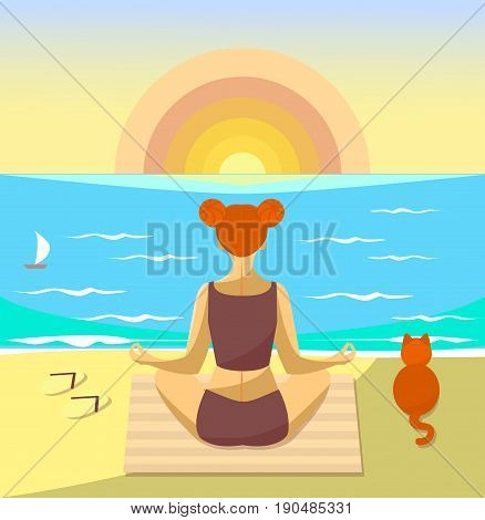 Woman meditating on a beach. Vector illustration. Girl sit with a cat and watch the sunset over the sea