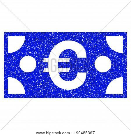Grunge Euro Banknote icon with grunge design and scratched texture. Unclean vector blue pictogram for rubber seal stamp imitations and watermarks. Draft emblem symbol.