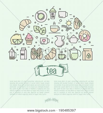 Thin line vector illustration of tea, tea ceremony and sale of tea beverages. Concept for web sites, banners and printed materials.