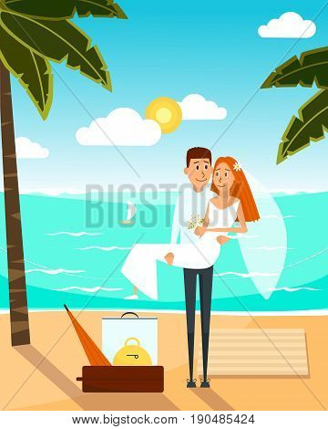 Just married couple went to the beach after wedding. Honeymoon vacation concept poster. Vector illustration with cartoon characters in flat style design.