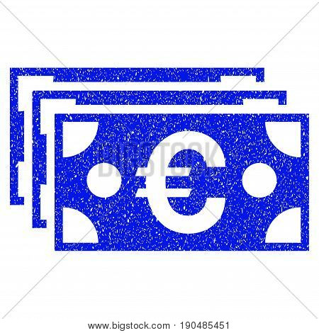 Grunge Euro Banknotes icon with grunge design and dirty texture. Unclean vector blue pictogram for rubber seal stamp imitations and watermarks. Draft emblem symbol.