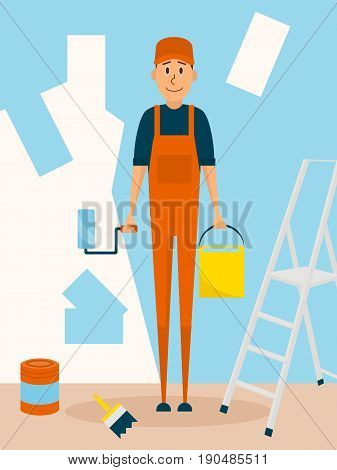 Craftsman worker paint the wall. Vector cartoon character in flat style design. Painter man holds paintroller and paint bucket