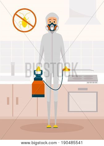 Pest control service worker in chemical protective suit. Vector cartoon character in flat style design. Extermination or domestic insect disinfection concept poster