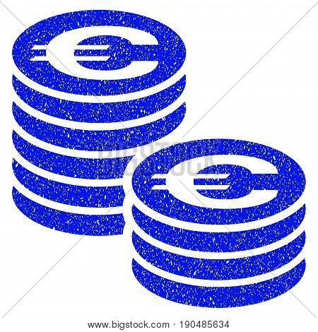 Grunge Euro Coin Columns icon with grunge design and scratched texture. Unclean vector blue pictogram for rubber seal stamp imitations and watermarks. Draft sticker symbol.