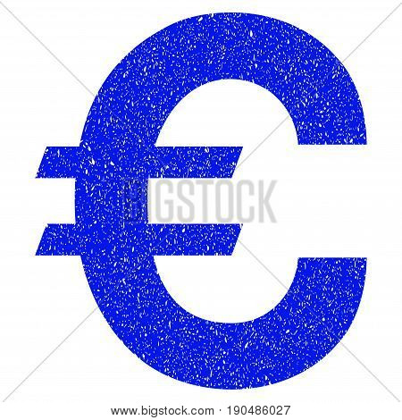 Grunge Euro Symbol icon with grunge design and dust texture. Unclean vector blue pictogram for rubber seal stamp imitations and watermarks. Draft sticker symbol.