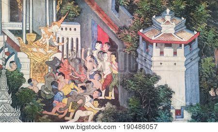 BANGKOK THAILAND - JANUARY 2: Thai style painting art tales of the lord Buddha's former births at Wat Nairong on January 2 2017 in BangkokThailand.