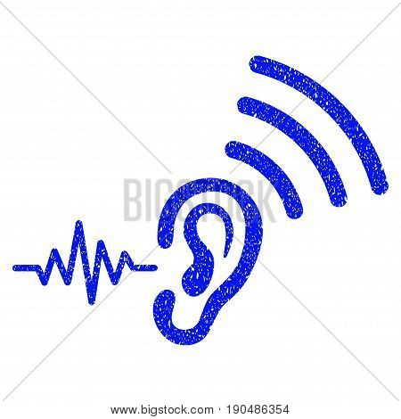 Grunge Listen And Transmit icon with grunge design and scratched texture. Unclean vector blue pictogram for rubber seal stamp imitations and watermarks. Draft emblem symbol.