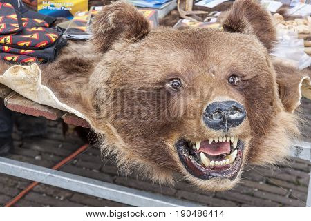 Bear pelt on street market - Schokland (Scandinavian day) Netherlands.